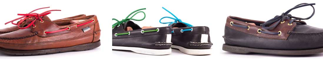Farbige Ledersenkel für Bootsschuhe