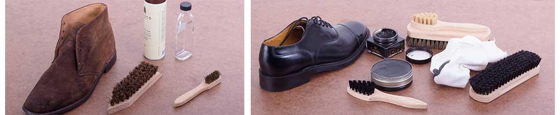 Schuhputzset Standard im Gebrauch