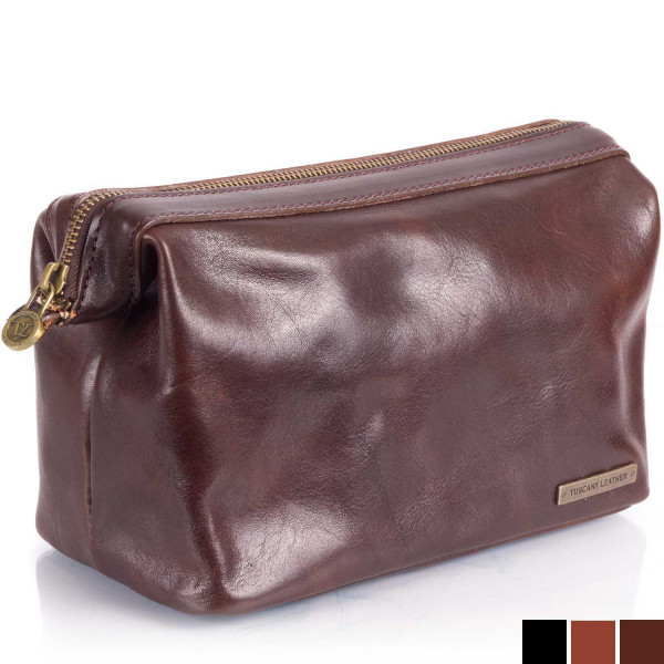 Tuscany Leather Kulturbeutel Ronny dunkelbraun Schrägansicht