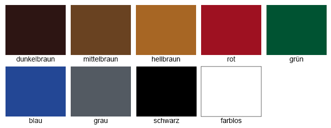 Burgol Nubuk-Raulederpflege Farbtabelle