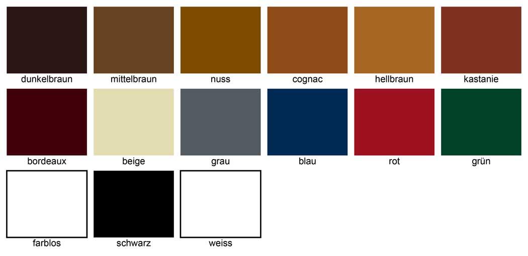 Farbtabelle Burgol-Schuhpomade